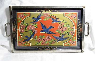 Beautiful Antique Vintage Art Deco Asian Inspired Bluebird Tin & Glass Tray
