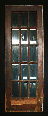 "30""x 84"" Antique Interior Exterior Entry French Pine Door 15 Beveled Glass Lites"