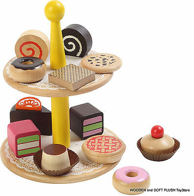 VOILA TOY wooden PASTRIES pretend play CAKE food kitchen child's gift BRAND NEW