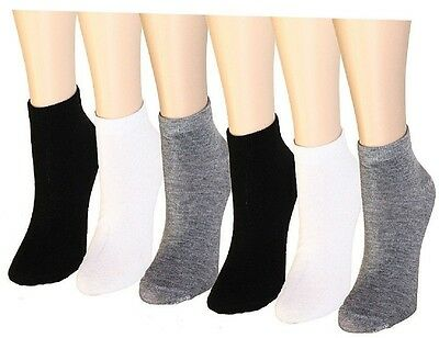 3-12 Pairs Women's Ankle Socks Cotton Girls Low Cut Assorted Packs