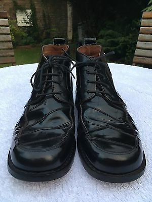 KICKERS size 10/44 men's shiny black leather boots