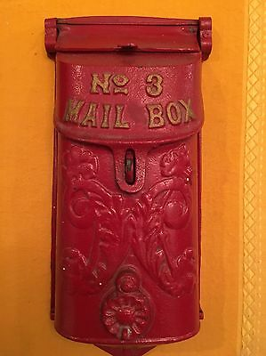 Antique Cast Iron NO.3 Mail Box With Peephole Cover Griswold ? 353 red