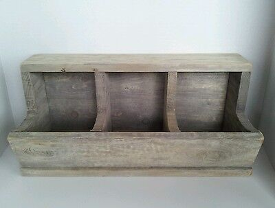 Country Primitive Farmhouse Decor Antique Look Aged Wood Storage Bin Box Rustic