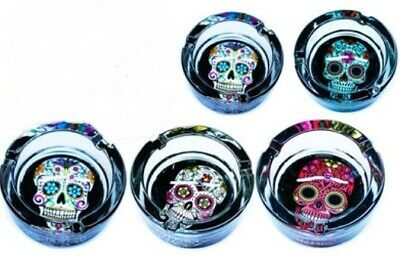 Brand New Glass Ashtray ash tray Candy Skull Design Two pieces