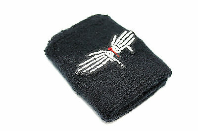 Pair Extra Soft Dragonfly Logo Terry Cuffs Wrist Band Exercise Sweatband Cotton