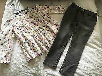 Mamas & Papas Girls Swing Top House Print Grey Skinny Jeans Outfit Age 4-5 Years