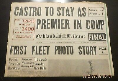 7/18/1959 - Oakland Newspaper - Castro Remains Premier; Cuban President Ousted