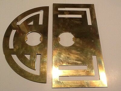 "Used Door Knob Escutcheons Back Plate - 2 Solid Brass 12"" & 11"" Tall"