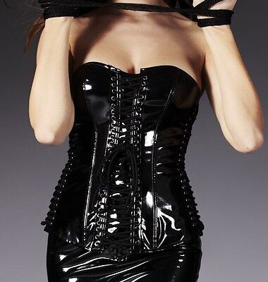 Sexy Latex Leather Corset Halloween Fetish Costume Party Size 6,8,10 Black Shape