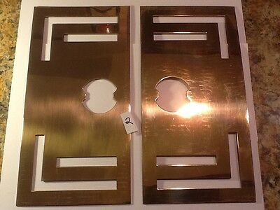 "VTG Door Knob Escutcheons - 2  Back Plate Solid Brass NOS 12"" by 6"" LARGE"