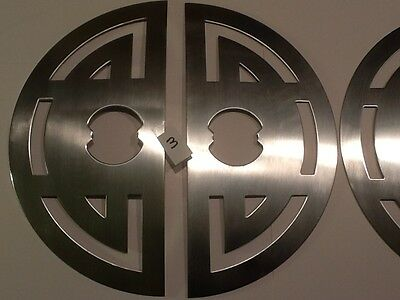 """Vintage Door Knob Escutcheons X 3 Back Plate Stainless Steel NOS 11"""" by 5 1/2"""""""