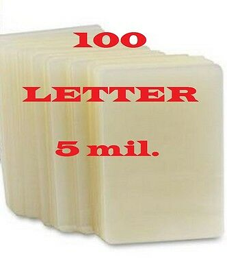 100 Letter Size  Laminating Pouches/Sheets,  5 Mil