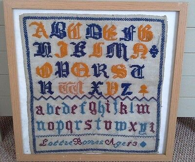 lovely victorian needle work sampler, antique, sampler