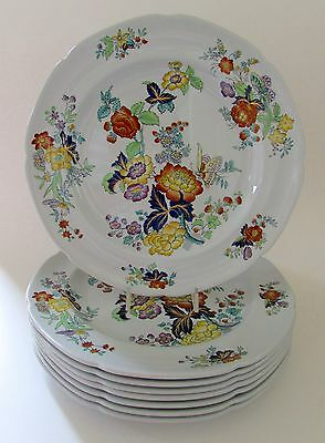 """SPODE COPELAND New Stone W26 Floral 10.5"""" Dinner Plates Set of 8"""