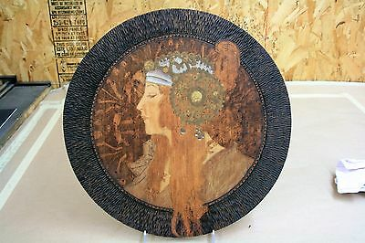 Antique ART DECO Wood Pyrography WALL PLAQUE A.Mucha Byzantine Head The Blonde