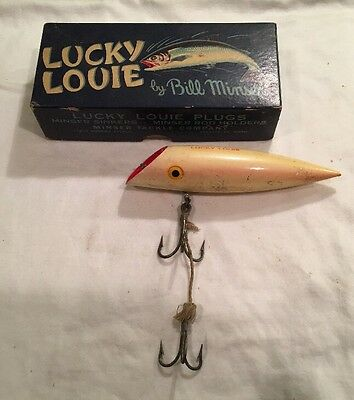 Vintage Lucky Louie Pearl Pink Fishing Lure And Box
