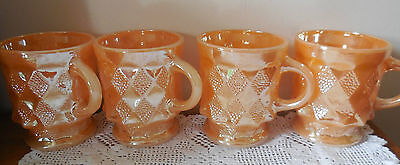 Anchor Hocking 4  Fire King Coffee Cups -   PEACH LUSTRE vgc #1