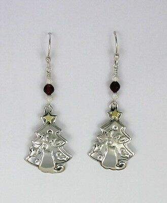 "925 Sterling Silver & Brass ""cats Xmas tree"" Earrings, Far Fetched, Retired Item"