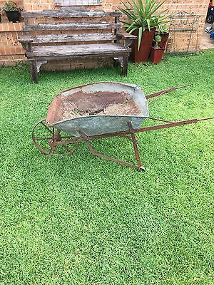 Very Old Vintage Rustic Metal Wheelbarrow Stunning Garden Feature!!