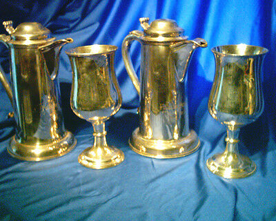 Rare Antique Church / Chapel Large Silver Plate Ewers &  Goblets Engraved