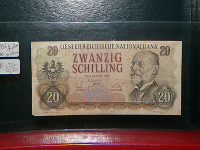 1956  20 Schilling Banknote ~~ Austria ~~ Circulated  Very Nice  !!!