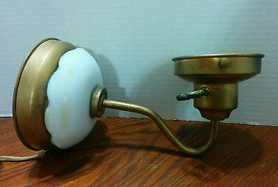 Vintage Art Deco Cast Metal White Porcelain Wall Mount Light Turn Switch