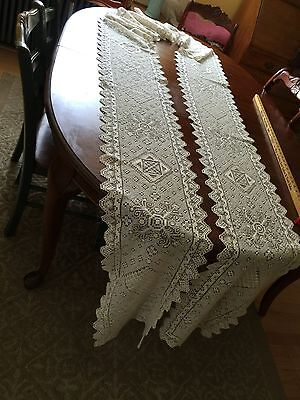 Vintage Handmade Filet Net Lace Runner Wedding Banquet Exceptionally Long 190""