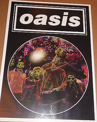 """MUSIC POSTER~Oasis 1997 Psychedelic Faces 25x35"""" Liam Noel Gallagher LAST ONE!!!"""