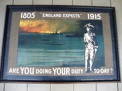 """RARE * Original WWI Admiral Nelson Recruiting Poster * England Expects..."""" 1915"""