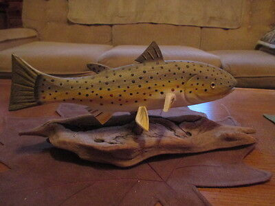 Peppe Hand Carved Trout Figure with Base date 1989