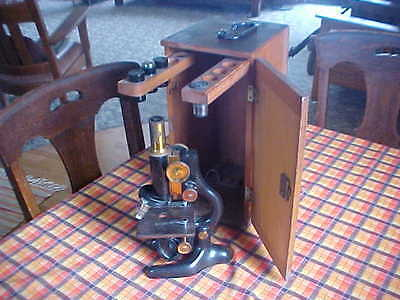 Vintage Bausch And Lomb Optical Microscope Pat. Jan 5, 1915 Rochester New York.