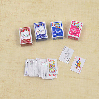 Dollhouse Miniatures Home Decor Poker Cards Playing Game for Doll Accessories