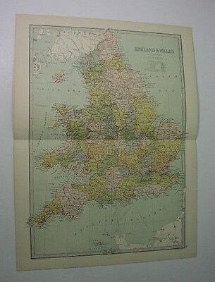 1881 ENGLAND & WALES - map engraved by Bartholomew, pub. by Zell, in color