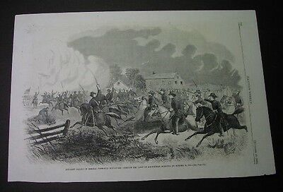 1861 print: FREMONT CAVALRY CHARGE, SPRINGFIELD MISSOURI in the Civil War