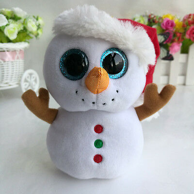 "Ty109 6"" TY Beanie Boos Scoops the Snowman Xmas Hat No Tag Plush Stuffed Toys"