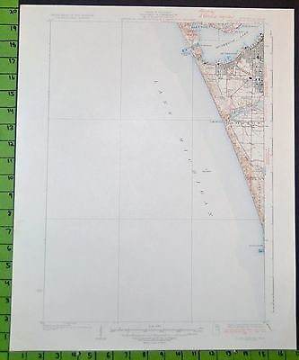 Muskegon Michigan Lake Harbor Antique USGS Topographic Map 1936 16x20