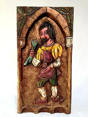Medieval Wood Relief Carving Plaque Panel Woodenware, PRICE REDUCED