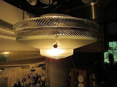 3 Chain Clear&frosted Glass Ceiling Light Art Deco Antique Vintage Rare Fantasti