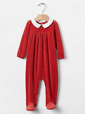a3e9ab479cd7 GAP Baby Girls 0-3 Months Festive   Christmas Red Velour Footed One-Piece