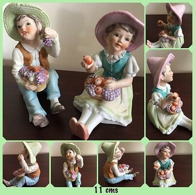 Porcelain Ceramic Figurine Statues - Pair Boy And Girl