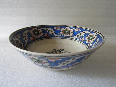 Beautiful Antique Iznik Turkish Ottoman Faience Pottery Hand Painted Bowl
