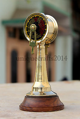 """7"""" Vintage Maritime Solid Brass Telegraph With Wooden Base Nautical Gift Item"""
