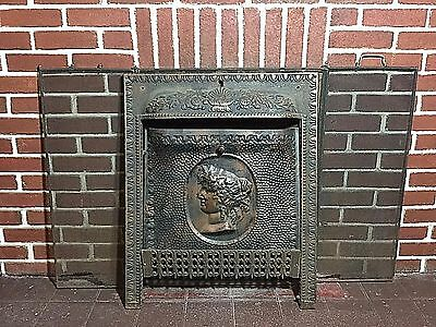 Antique 1800's Cast Iron Fireplace Surround w/ Summer Cover Hood & Screen SIGNED