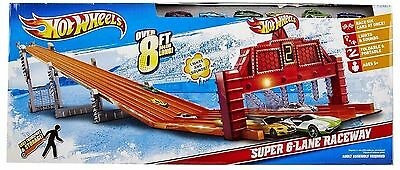 New - Hot Wheels Super 6 Lane Raceway 8 Feet Of Track With Lights & Sound