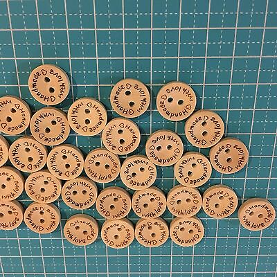 """50 Wooden buttons """"hand made with love"""""""