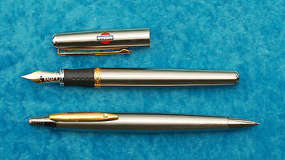 STAINLESS steel fountain PEN & PENCIL SET BY INOXCROM in box