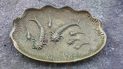 Antique Brass Dish Chinese? Persian? Underwater Shrimp? Great Detail Unsigned