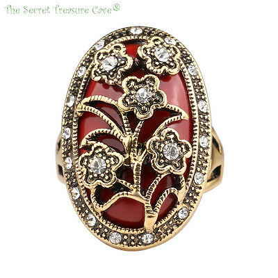 Floral Vintage Rustic Gold Plated Style Women's CZ Agate Turquoise Fashion Rings