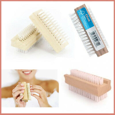 Double-Sided Wooden Manicure Nail Brush Scrubby Hand Toe Finger Bath Cleaning