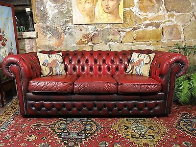 Vintage Leather Chesterfield 3 Seater Lounge Chair~Sofa